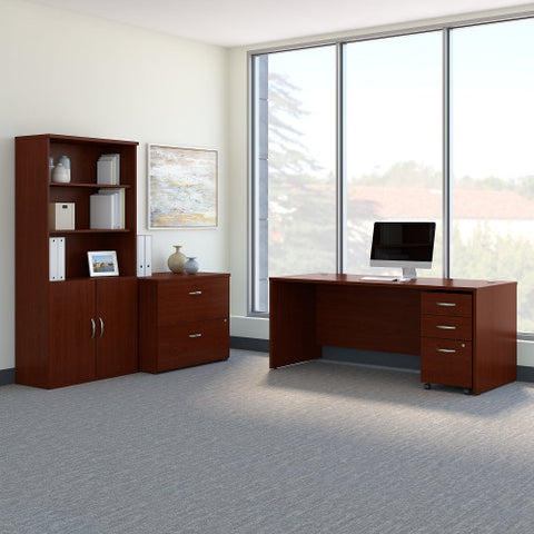 Bush Series C 72W Desk with File Storage and Bookcase, Mahogany SRC097MASU ; UPC: 042976053628 ; Image 2