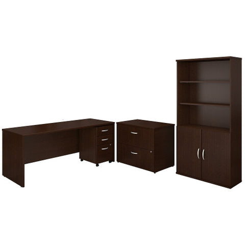 Bush Series C 72W Desk with File Storage and Bookcase, Mocha Cherry SRC097MRSU ; UPC: 042976053642 ; Image 1