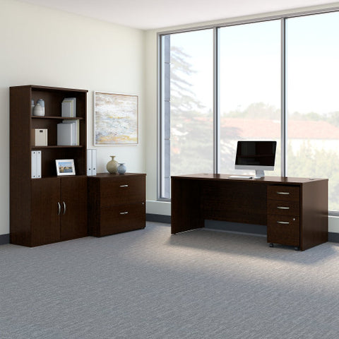 Bush Series C 72W Desk with File Storage and Bookcase, Mocha Cherry SRC097MRSU ; UPC: 042976053642 ; Image 2