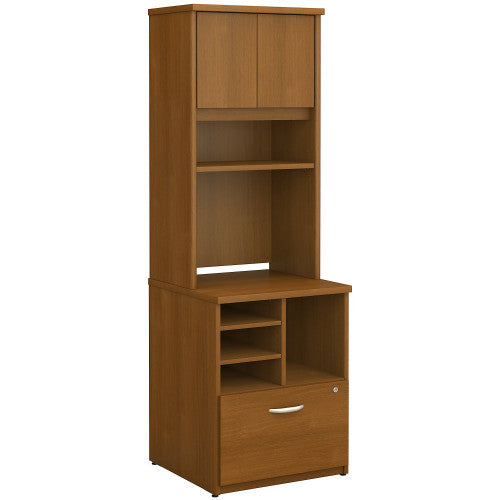 Bush Series C 24W Piler Filer and Hutch, Warm Oak SRC101WO ; UPC: 042976054182 ; Image 1