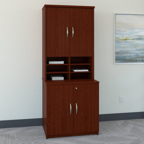 Bush Series C 30W Storage Cabinet and Hutch, Mahogany SRC102MA ; UPC: 042976054267 ; Image 2