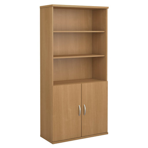 Bush Series C 36W 5 Shelf Bookcase with Doors, Light Oak SRC103LO ; UPC: 042976054403 ; Image 1