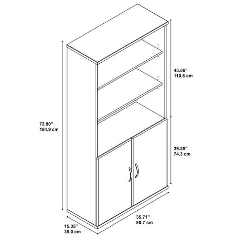 Bush Series C 36W 5 Shelf Bookcase with Doors, Light Oak SRC103LO ; UPC: 042976054403 ; Image 3