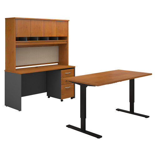 Bush Series C 60W Height Adj Standing Deskw Credenza, Natural Cherry SRC107NCSU ; UPC: 042976054724 ; Image 1
