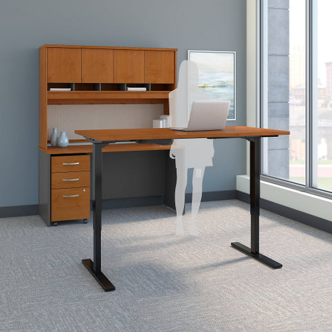 Bush Series C 60W Height Adj Standing Deskw Credenza, Natural Cherry SRC107NCSU ; UPC: 042976054724 ; Image 2