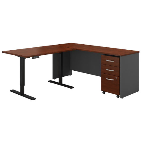 Bush Series C 72W Desk with 48W Height Adjustable Return & Storage, Hansen Cherry SRC108HCSU ; UPC: 042976054748 ; Image 1