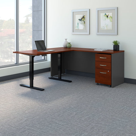Bush Series C 72W Desk with 48W Height Adjustable Return & Storage, Hansen Cherry SRC108HCSU ; UPC: 042976054748 ; Image 2