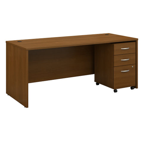 Bush Series C 72W x 30D Desk Shell with 3 Dwr Mobile Pedestal, Warm Oak SRC113WOSU ; UPC: 042976031930 ; Image 1