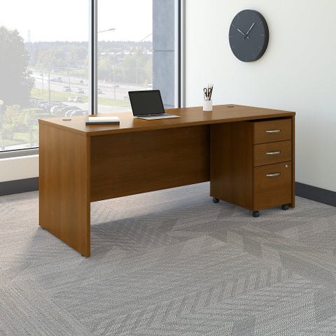 Bush Series C 72W x 30D Desk Shell with 3 Dwr Mobile Pedestal, Warm Oak SRC113WOSU ; UPC: 042976031930 ; Image 2