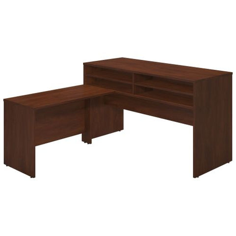 Bush Business Furniture Series C Elite 72W x 30D Standing Height Desk Shell with Shelf Kit and 48W Return in Hansen Cherry ; UPC:042976021009 ; Image 1