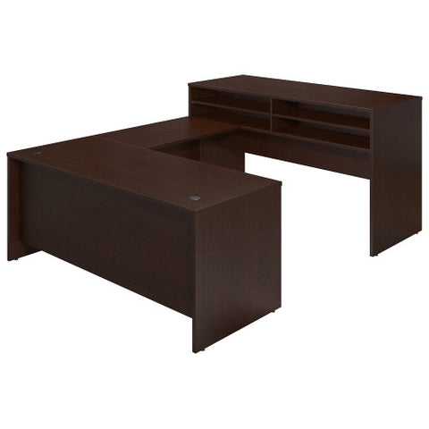 Bush Series C Elite 72W x 30D U Station with Standing Height Desk Shell, Mocha Cherry SRE109MR ; UPC: 042976026165 ; Image 1