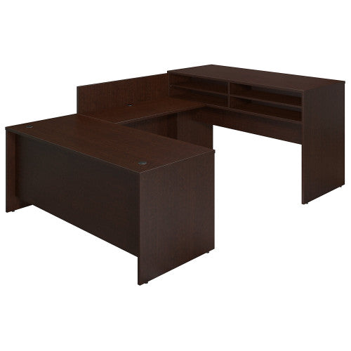Bush Series C Elite 72W x 30D U Station with Standing Height Desk Shell, Mocha Cherry SRE113MR ; UPC: 042976026271 ; Image 1