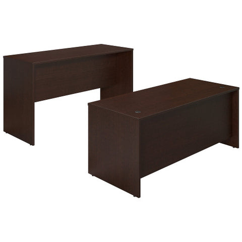 Bush Series C Elite 72W x 30D Desk Shell with Standing Height Credenza, Mocha Cherry SRE127MR ; UPC: 042976026561 ; Image 1