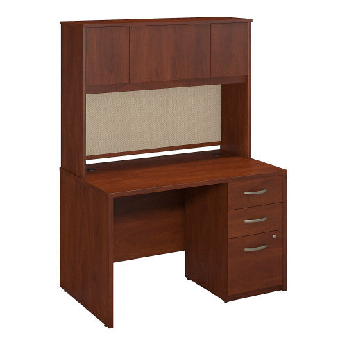 Bush Series C Elite 48W x 30D Desk Shell with Hutch and 3Dwr Pedestal, Hansen Cherry SRE129HCSU ; UPC: 042976027070 ; Image 1
