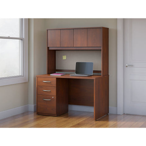 Bush Series C Elite 48W x 30D Desk Shell with Hutch and 3Dwr Pedestal, Hansen Cherry SRE129HCSU ; UPC: 042976027070 ; Image 2