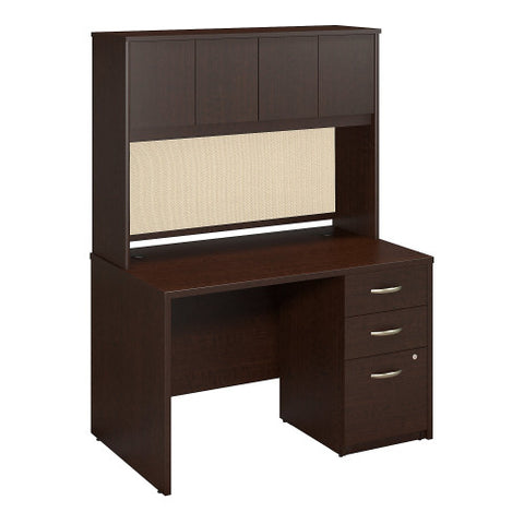 Bush Series C Elite 48W x 30D Desk Shell with Hutch and 3Dwr Pedestal, Mocha Cherry SRE129MRSU ; UPC: 042976027087 ; Image 1