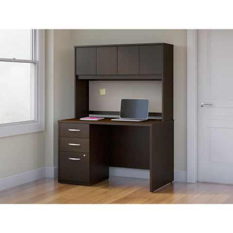 Bush Series C Elite 48W x 30D Desk Shell with Hutch and 3Dwr Pedestal, Mocha Cherry SRE129MRSU ; UPC: 042976027087 ; Image 2