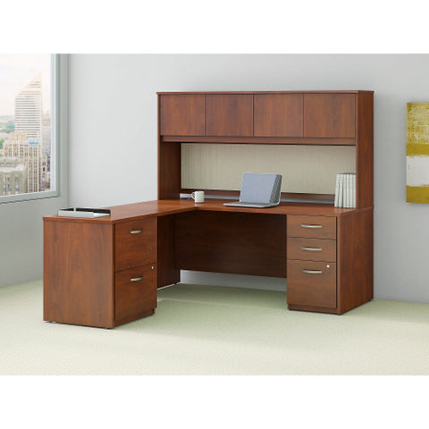 Bush Series C Elite 72W x 30D Desk Shell with 48W Returnwith Storage, Hansen Cherry SRE130HCSU ; UPC: 042976027094 ; Image 2
