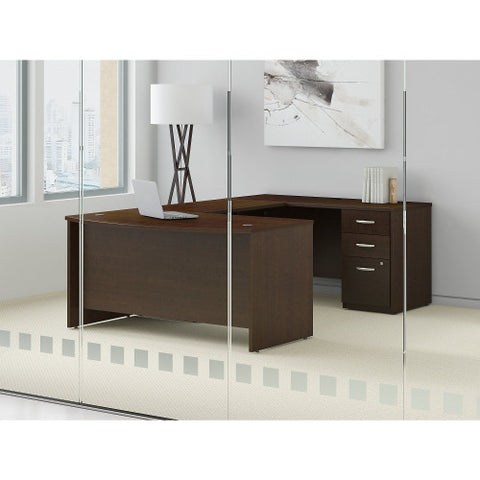 Bush Series C Elite 60W x 36D Bow Front U Station with 3 Drawer Pedestal, Mocha Cherry SRE134MRSU ; UPC: 042976027209 ; Image 2