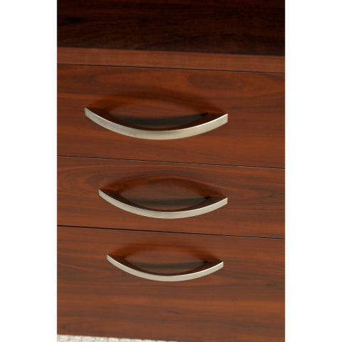 Bush Series C Elite 72W x 36D Bow Front U-Station with 3 Drawer Pedestal, Hansen Cherry SRE136HCSU ; UPC: 042976029913 ; Image 3