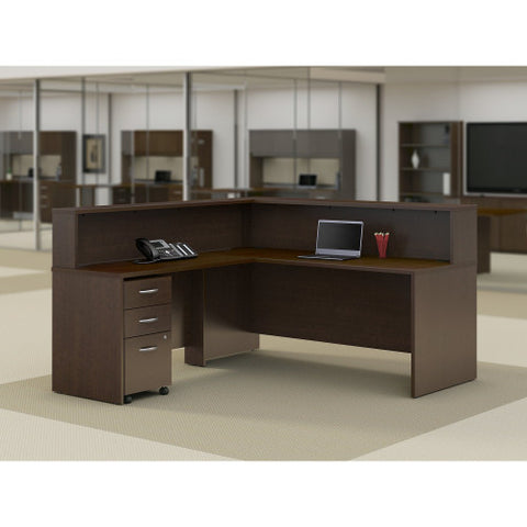 Bush Series C Elite 72W x 30D L Reception Station with Storage, Mocha Cherry SRE140MRSU ; UPC: 042976027315 ; Image 2