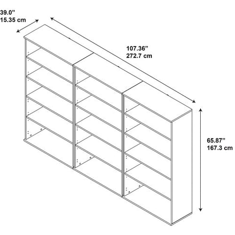 Bush Series C Elite 66H Bookcase Storage Wall, Hansen Cherry SRE149HC ; UPC: 042976085629 ; Image 2