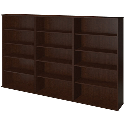 Bush Series C Elite 66H Bookcase Storage Wall, Mocha Cherry SRE149MR ; UPC: 042976085605 ; Image 1