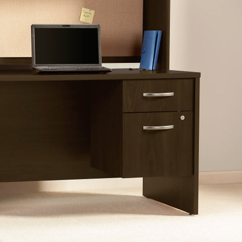 Bush Series C Elite 66W x 30D Desk Shell with Two 3/4 Pedestals, Mocha Cherry SRE186MRSU ; UPC: 042976087784 ; Image 3