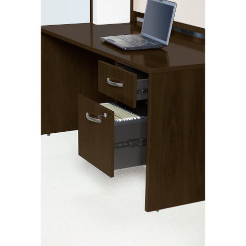 Bush Series C Elite 66W x 30D Desk Shell with Two 3/4 Pedestals, Mocha Cherry SRE186MRSU ; UPC: 042976087784 ; Image 4