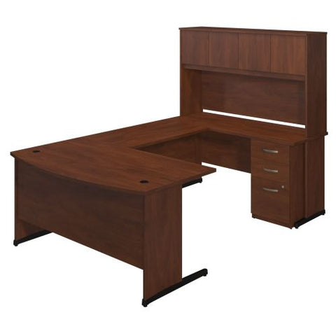 Bush Business Furniture Series C Elite 60W x 36D C Leg Bow Front U Station with Storage in Hansen Cherry ; UPC:042976088590 ; Image 1