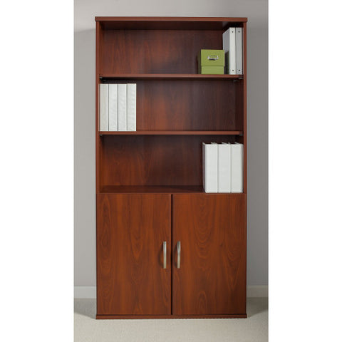 Bush Series C Elite 36W 5 Shelf Bookcase with Doors, Hansen Cherry SRE221HC ; UPC: 042976089177 ; Image 2