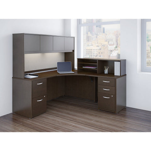 Bush Series C Elite 42W x 42D Corner Desk with Returns, Hutch and Storage, Mocha Cherry SRE223MRSU ; UPC: 042976027490 ; Image 2