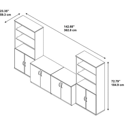 Bush Series C Elite 36W Storage Cabinets with Bookcases, Hansen Cherry SRE224HC ; UPC: 042976085681 ; Image 4