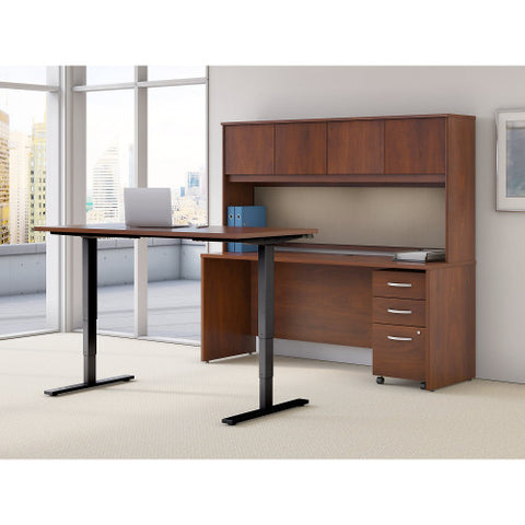 Bush Series C Elite 72W Height Adjustable Standing Desk with Credenza , Hansen Cherry SRE230HCSU ; UPC: 042976089450 ; Image 2