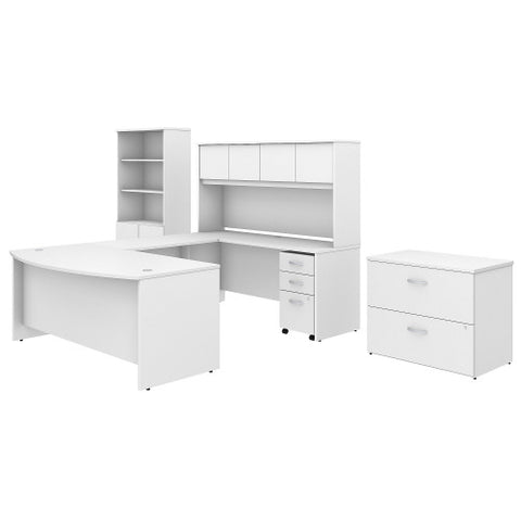 Bush Studio C 72W x 36D Bow Front U Station with Storage, White STC001WH ; UPC: 042976071042 ; Image 1