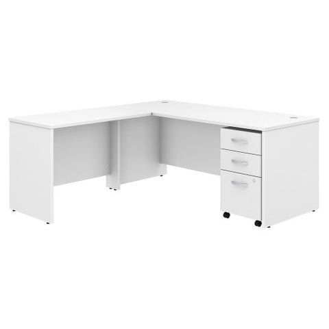 Bush Studio C 72W x 30D Desk with 42W Return and Mobile Pedestal, White STC007WH ; UPC: 042976071288 ; Image 1