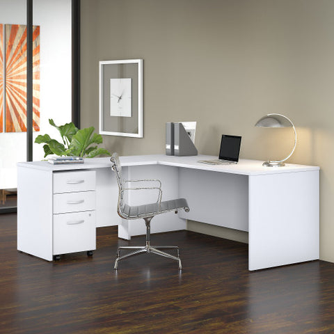 Bush Studio C 72W x 30D Desk with 42W Return and Mobile Pedestal, White STC007WH ; UPC: 042976071288 ; Image 2