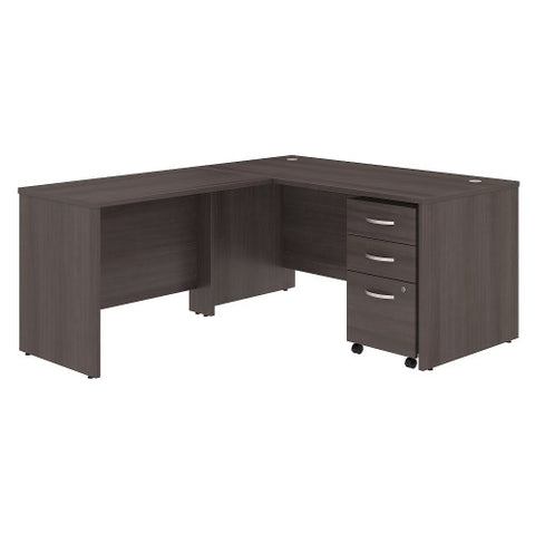 Bush Studio C 60W x 30D Desk with 42W Return and Mobile Pedestal, Storm Gray STC008SG ; UPC: 042976071349 ; Image 1