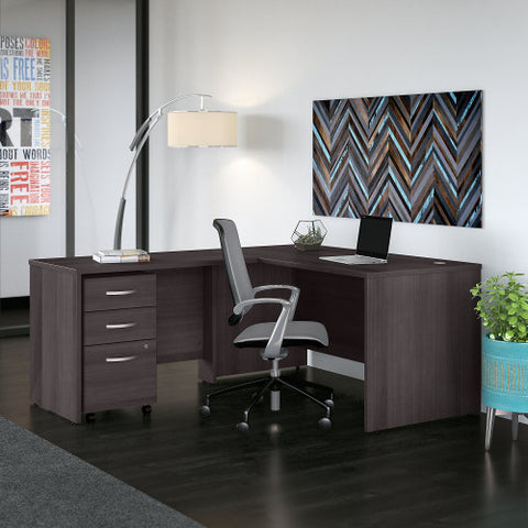 Bush Studio C 60W x 30D Desk with 42W Return and Mobile Pedestal, Storm Gray STC008SG ; UPC: 042976071349 ; Image 2