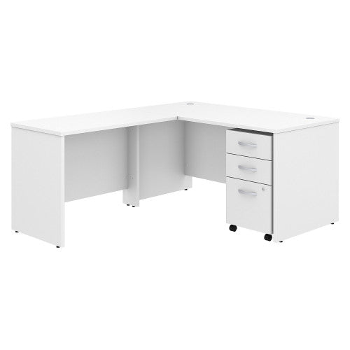 Bush Studio C 60W x 30D Desk with 42W Return and Mobile Pedestal, White STC008WH ; UPC: 042976071325 ; Image 1