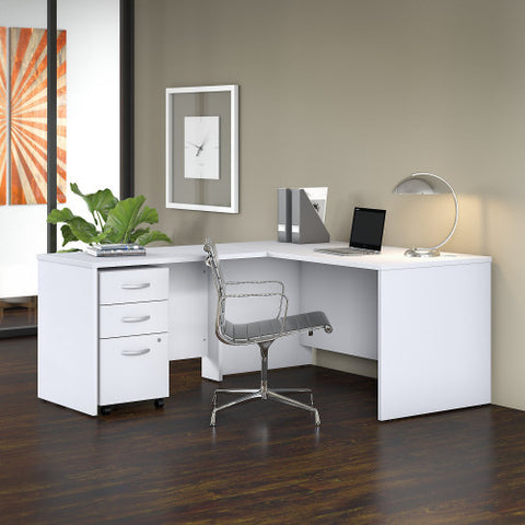 Bush Studio C 60W x 30D Desk with 42W Return and Mobile Pedestal, White STC008WH ; UPC: 042976071325 ; Image 2