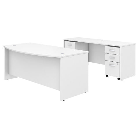 Bush Studio C 72W x 36D Bow Front Desk, Credenza and File Storage, White STC009WH ; UPC: 042976071363 ; Image 1