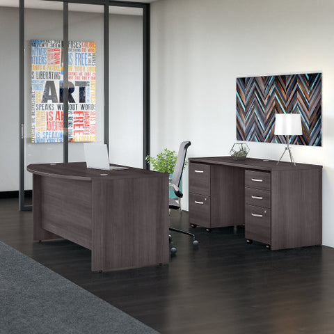 Bush Studio C 60W x 36D Bow Front Desk, Credenza and File Storage, Storm Gray STC010SG ; UPC: 042976071424 ; Image 2