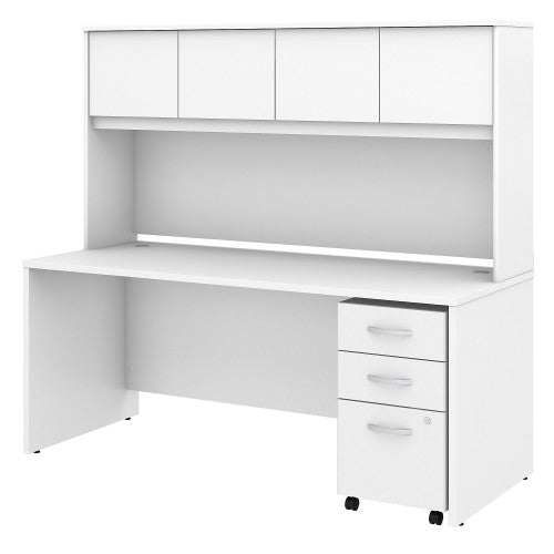 Bush Studio C 72W x 30D Desk with Hutch and 3 Drawer Mobile Pedestal, White STC011WH ; UPC: 042976071448 ; Image 1