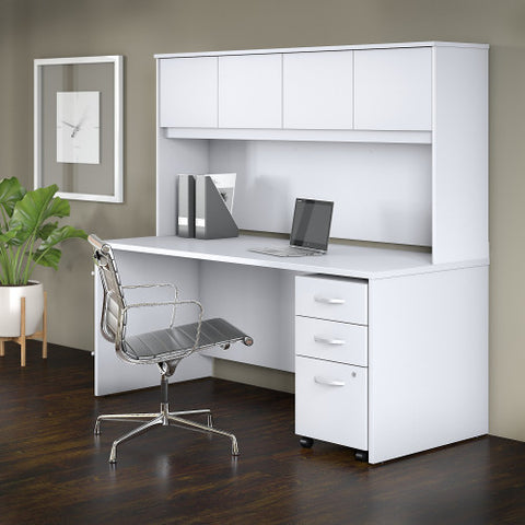 Bush Studio C 72W x 30D Desk with Hutch and 3 Drawer Mobile Pedestal, White STC011WH ; UPC: 042976071448 ; Image 2