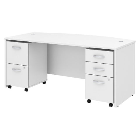 Bush Studio C 72W x 36D Bow Front Desk with Mobile Pedestals, White STC012WH ; UPC: 042976071486 ; Image 1
