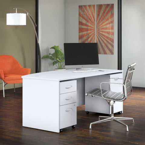 Bush Studio C 72W x 36D Bow Front Desk with Mobile Pedestals, White STC012WH ; UPC: 042976071486 ; Image 2