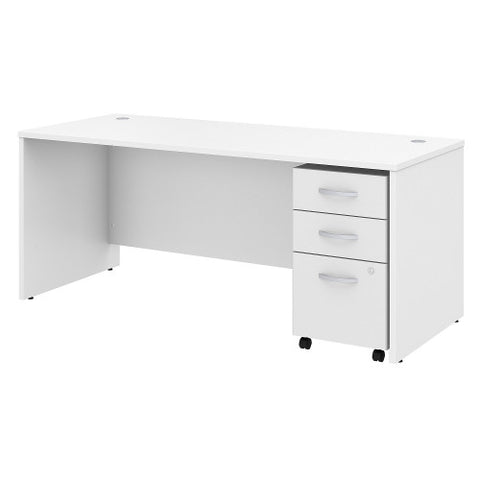 Bush Studio C 72W x 30D Desk with 3 Drawer Mobile Pedestal, White STC013WH ; UPC: 042976071523 ; Image 1