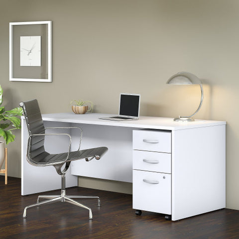 Bush Studio C 72W x 30D Desk with 3 Drawer Mobile Pedestal, White STC013WH ; UPC: 042976071523 ; Image 2