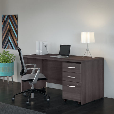 Bush Studio C 60W x 30D Desk with 3 Drawer Mobile Pedestal, Storm Gray STC014SG ; UPC: 042976071585 ; Image 2